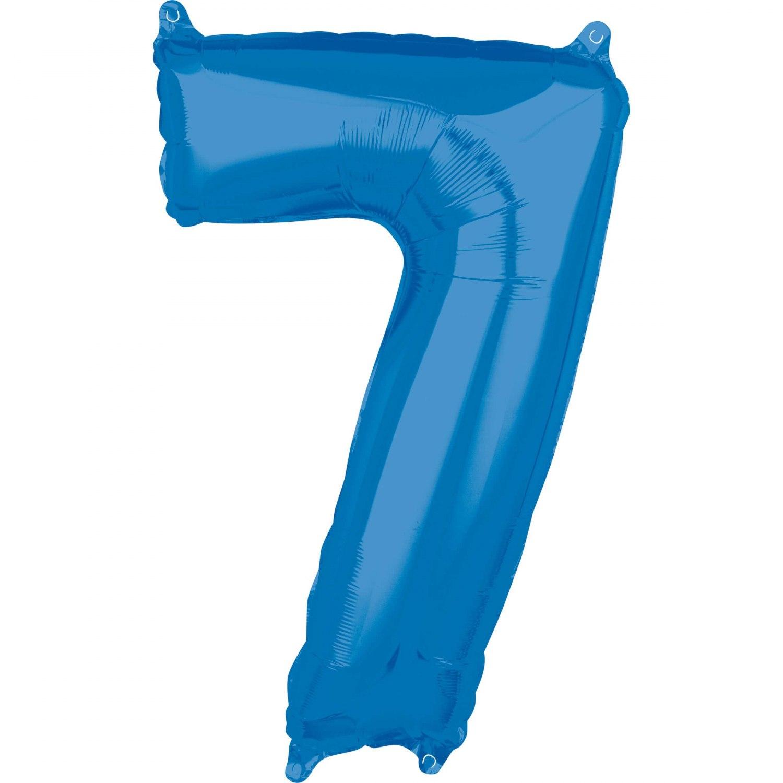 adee70b7133cd8 Balon foliowy cyfra 7 lat niebieska urodziny na hel 66 cm