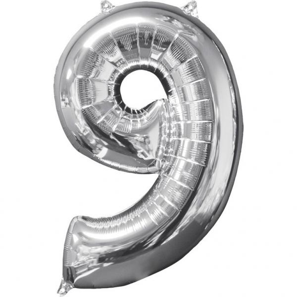 5c6994aa8c Balon foliowy cyfra 9 lat Srebrny urodziny dziewięć latek na hel 66 cm