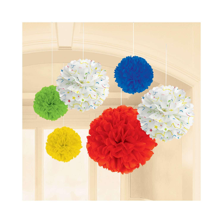 Pompony Dekoracyjne Z Bibuły Kolorowe 6 Szt